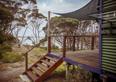 Steps from deck to beach path
